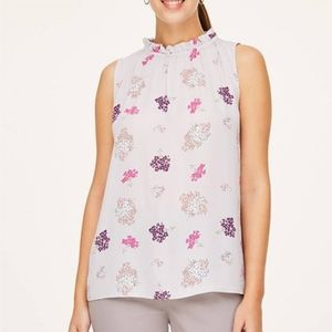 •LOFT• Floral Gathered Neck Top